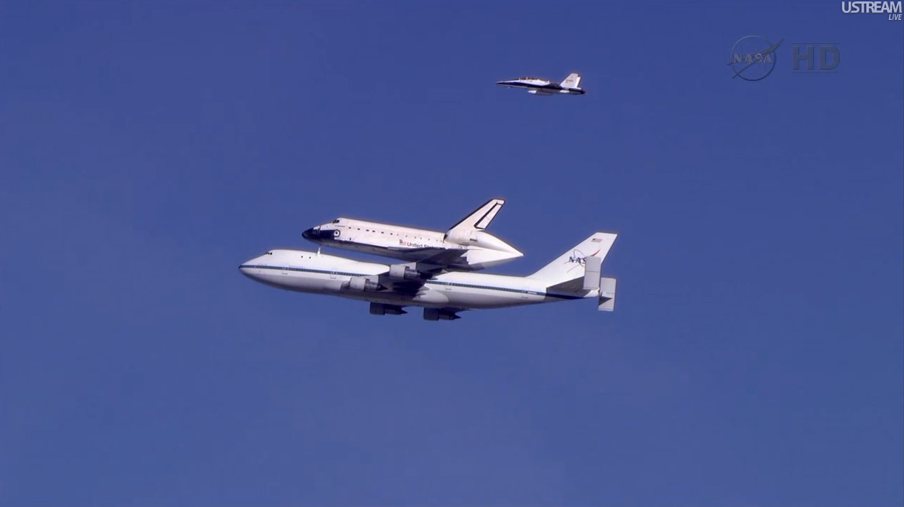 Shuttle Carrier Aircraft with Endeavour and Chase Plane
