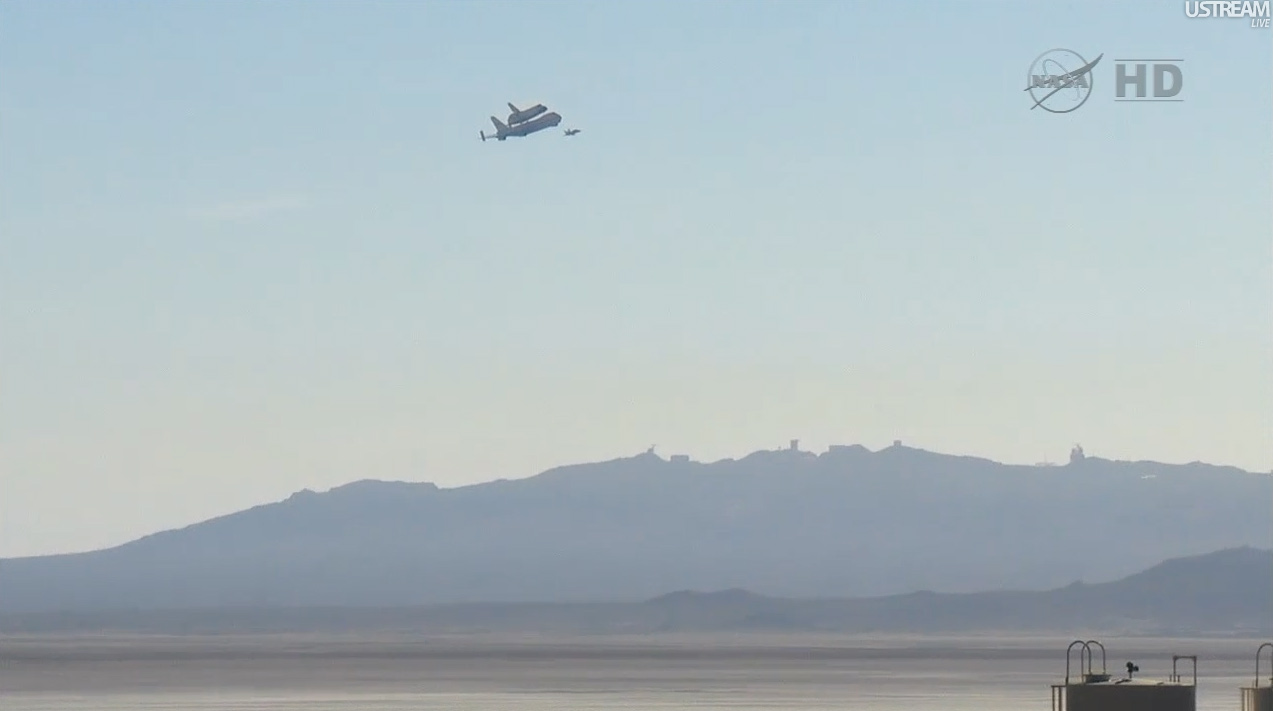 Endeavour with California Desert and Mountains