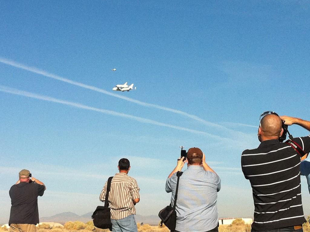 Spectators at Endeavour's Takeoff from Edwards