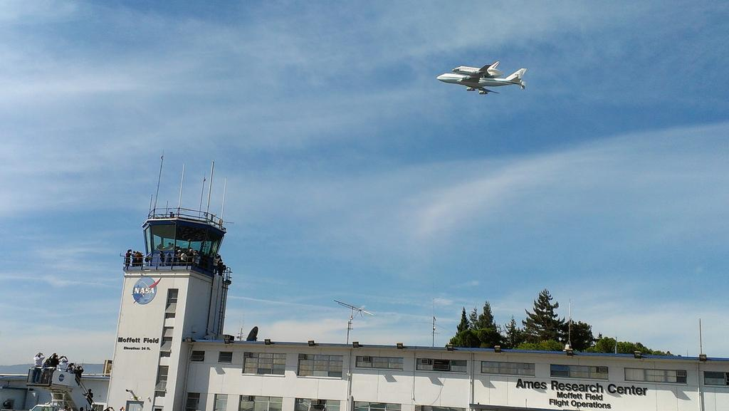 Shuttle Endeavour Over NASA Ames
