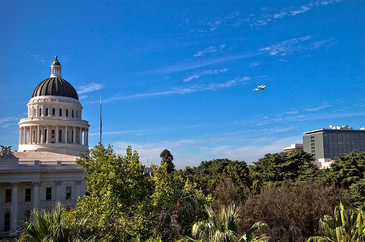 Shuttle Endeavour Over Sacramento Capitol Building