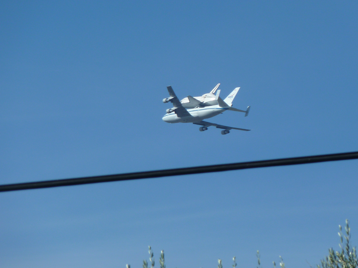 Endeavour over Castro Valley, CA