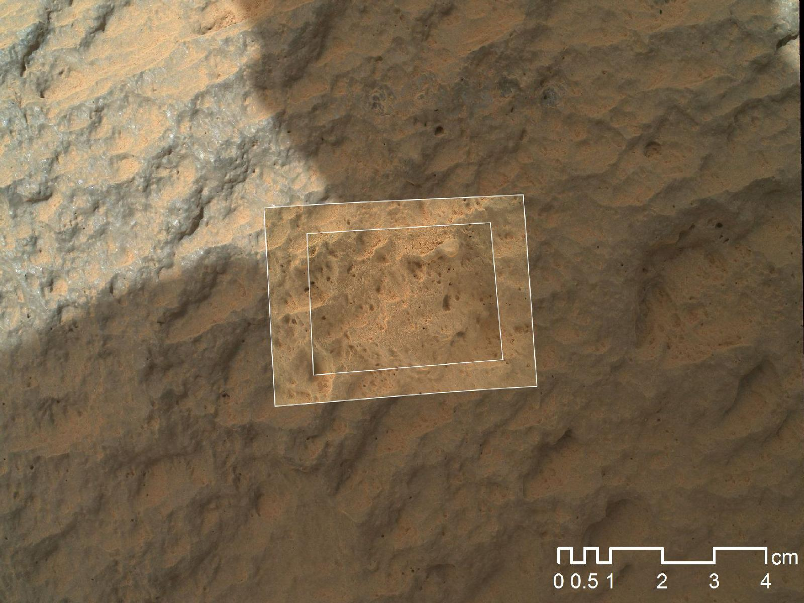 Mars Rover Touches 1st Rock (Closeup)
