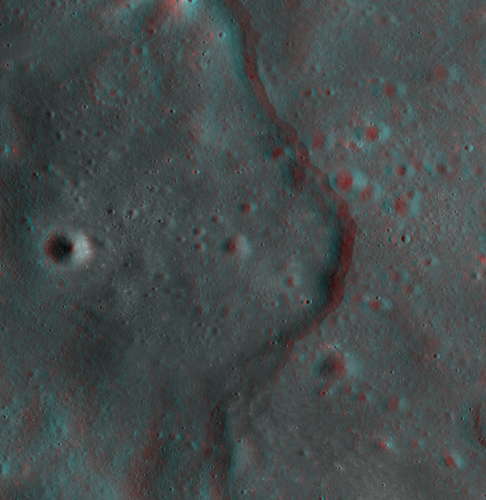 Moon in 3D: LRO Sees Korolev Lobate Scarp