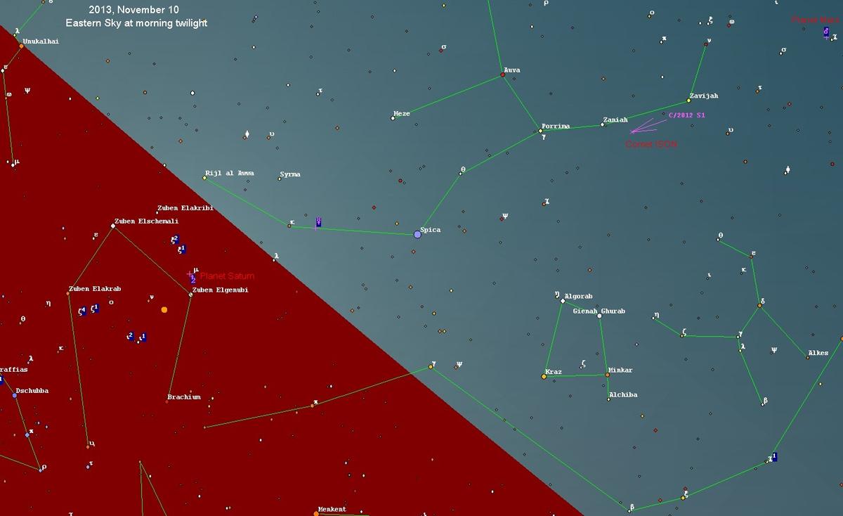 Comet C/2012 S1 (ISON) Sky Map