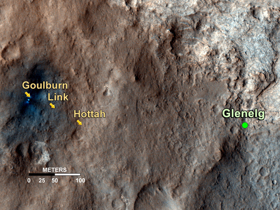 This map shows the path on Mars of NASA's Curiosity rover toward Glenelg, an area where three terrains of scientific interest converge. Arrows mark geological features encountered so far that led to the discovery of what appears to be an ancient Martian streambed. Image released September 27, 2012.