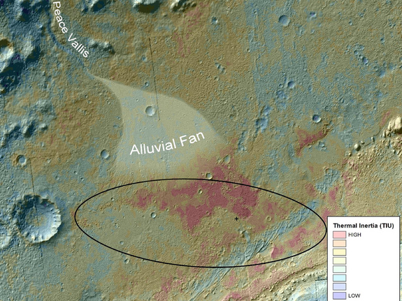 This false-color map shows the area within Gale Crater on Mars, where NASA's Curiosity rover landed on Aug. 5, 2012 PDT (Aug. 6, 2012 EDT). It merges topographic data with thermal inertia data that record the ability of the surface to hold onto heat. Red indicates a surface material that retains its heat longer into the evening, suggesting differences relative to its surroundings. Image released September 27, 2012.