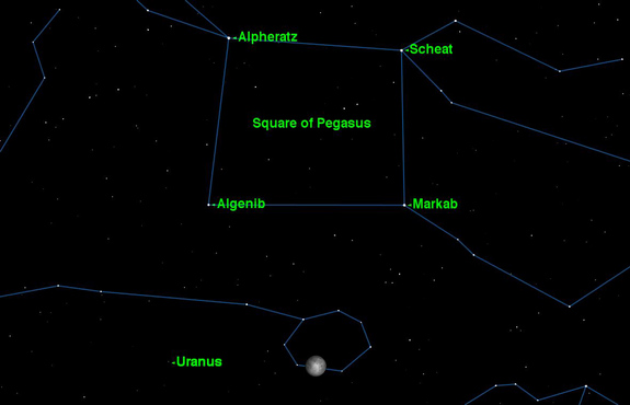 The planet Uranus reaches opposition in Pisces on Saturday, Sept. 29, 2012, and will be visible all night.