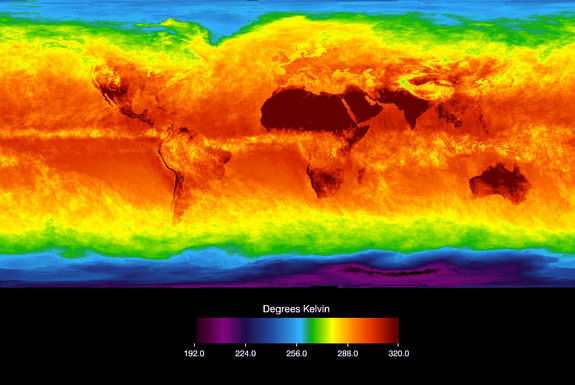 The Atmospheric Infrared Sounder (AIRS) instrument aboard NASA's Aqua satellite senses temperature using infrared wavelengths. This image shows temperature of the Earth's surface or clouds covering it for the month of April 2003. The scale ranges from -81 degrees C (-114 F) in black/blue to 47 C (116 F) in red.