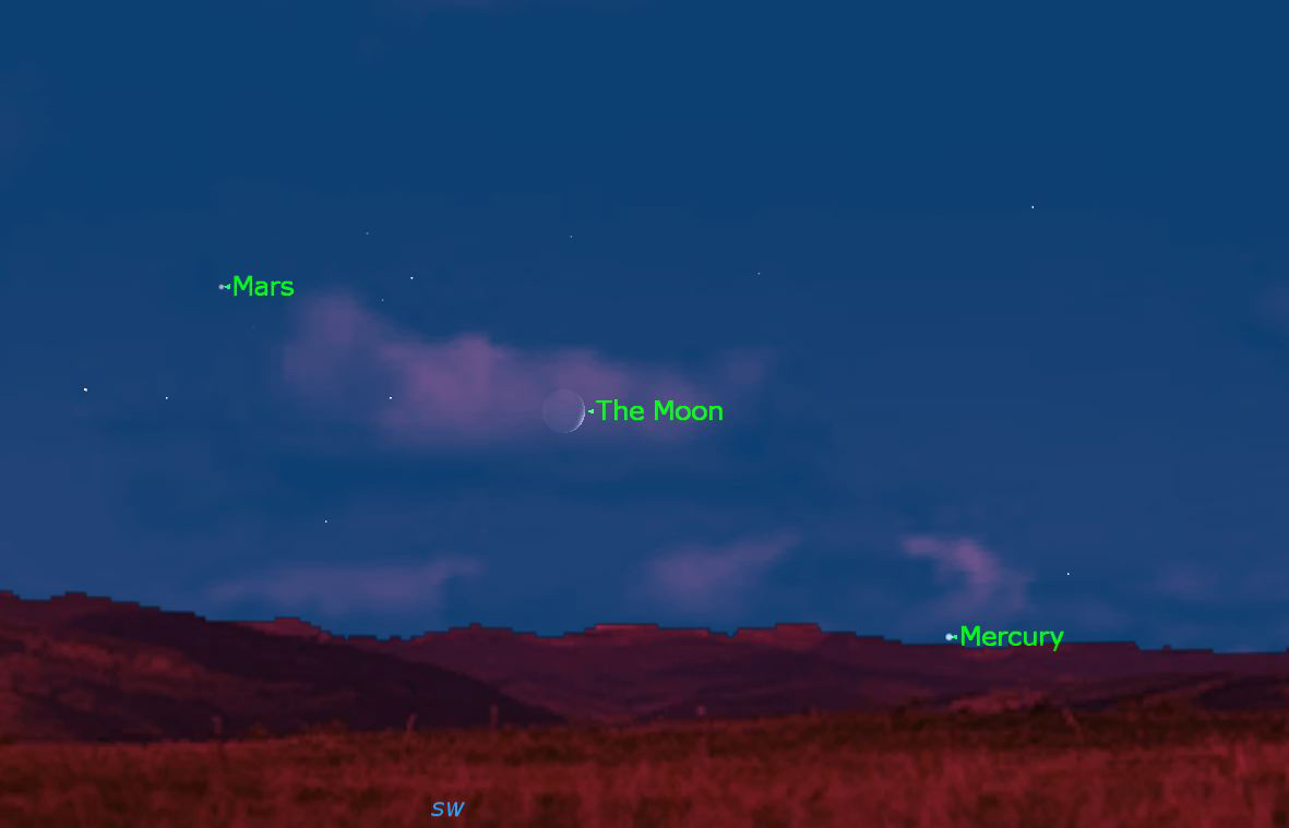 October 2012 Mars, Mercury and the Moon