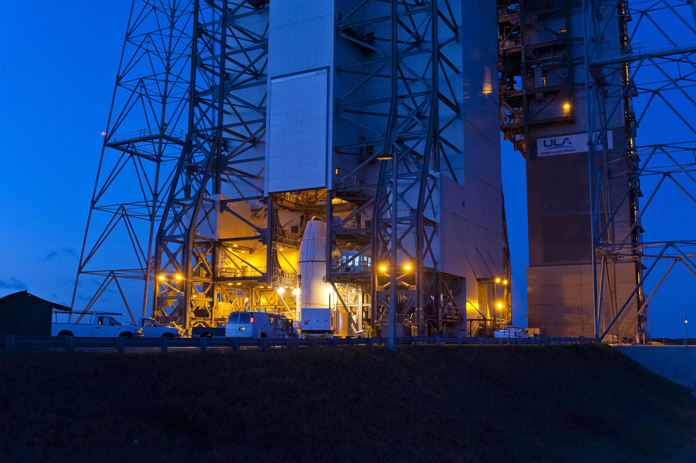 GPS IIF-3 Satellite Encapsulated Inside Payload Fairing