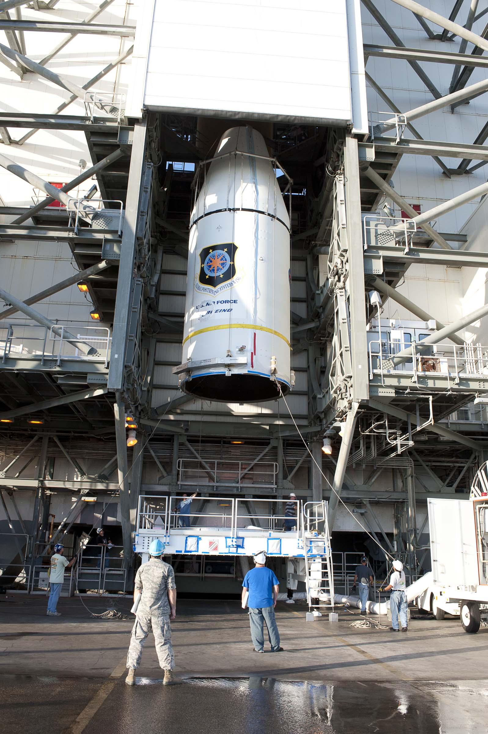 GPS IIF-3 Satellite Encapsulated Inside 4-Meter Diameter Payload Fairing