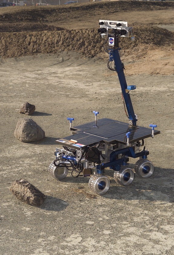 Scientists and engineers are testing new technologies using a rover at NASA's Ames Research Center. The robot is also being used to appraise new gear for Mars exploration. In a near-term test, the rover will evaluate deployment of lunar equipment, which would be controlled by astronauts on the International Space Station.