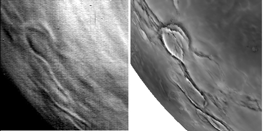 Thermal and Radar Maps of Venus' Surface Compared