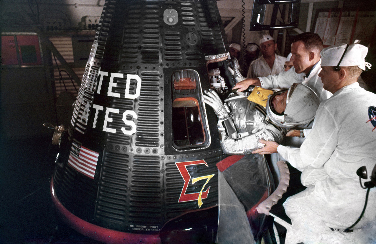 Schirra Entering Sigma 7 Capsule