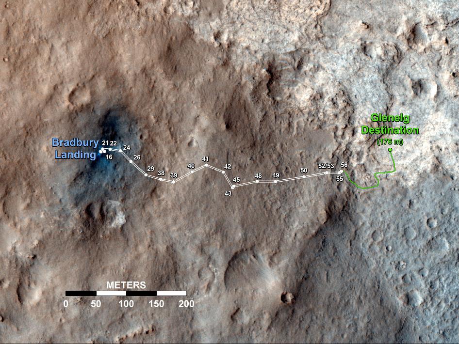 Curiosity's Travels Through Sol 56