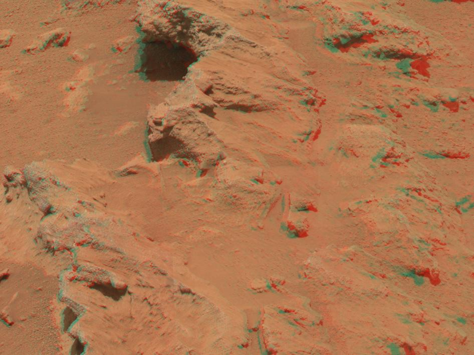 Martian Streambed Evidence Rock in 3-D