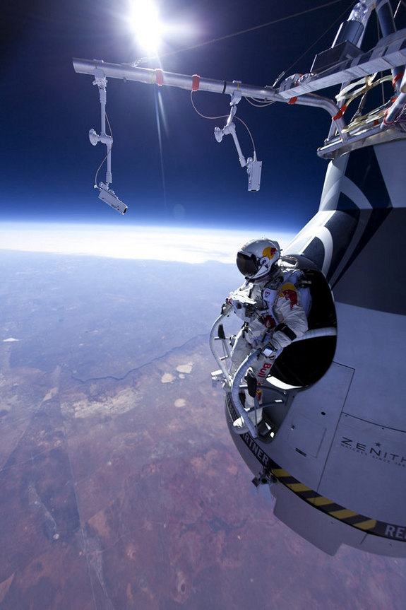 Pilot Felix Baumgartner of Austria seen before his jump at the first manned test flight for Red Bull Stratos in Roswell, New Mexico on March 15, 2012.