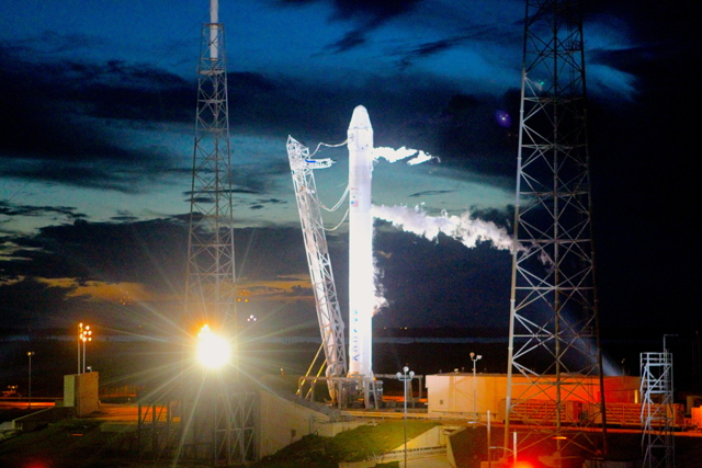 SpaceX Falcon 9 Rocket Night View