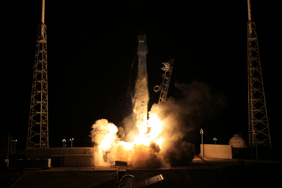 SpaceX's unmanned Dragon capsule launches toward the International Space Station on Oct. 7, 2012, kicking off the first-ever bona fide cargo run for a private American spaceship.