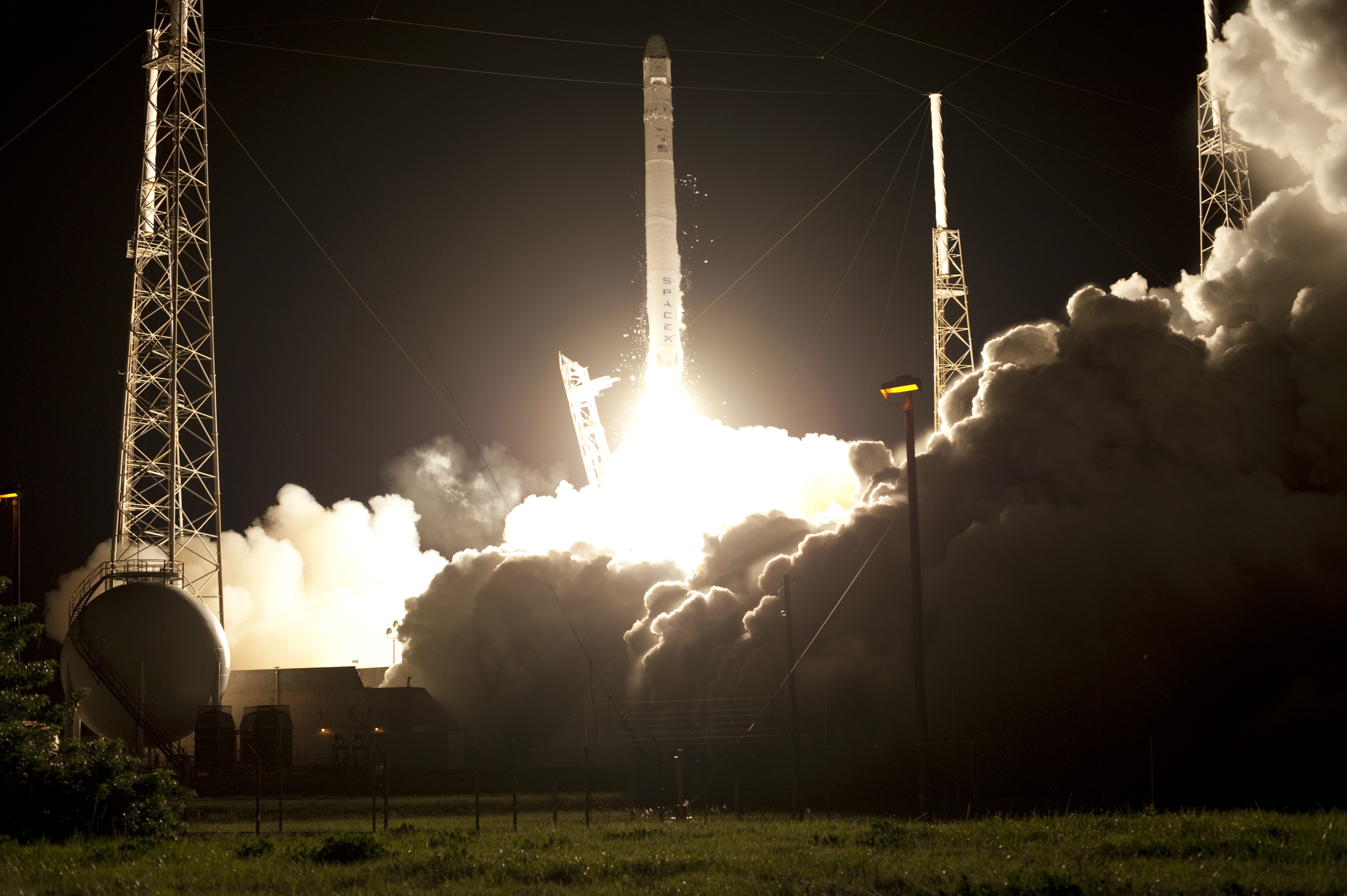 Engines Ignite for SpaceX Falcon 9 Launch