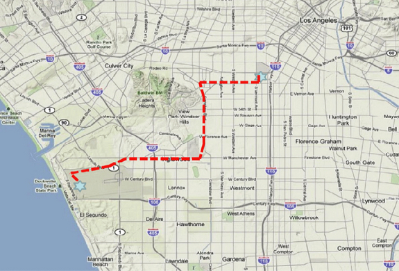 This map shows the 12-mile route the space shuttle Endeavour will take from Los Angeles International Airport (lower left) to the California Science Center on Oct. 12-13, 2012.