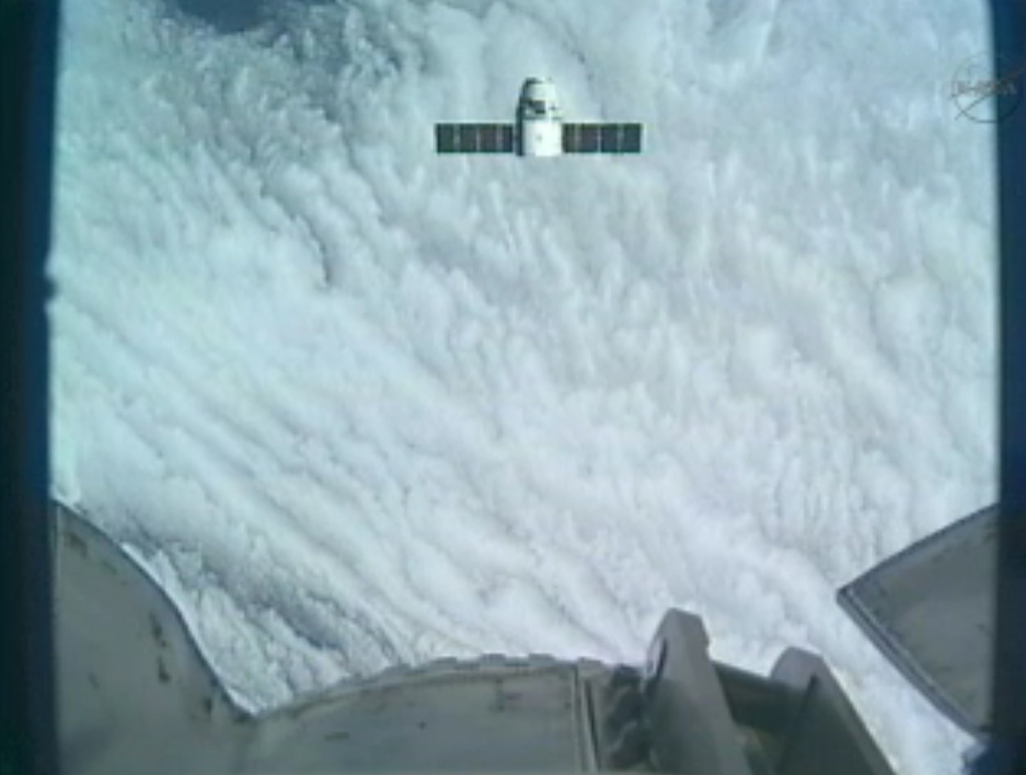 Dragon Nears Space Station with Cargo