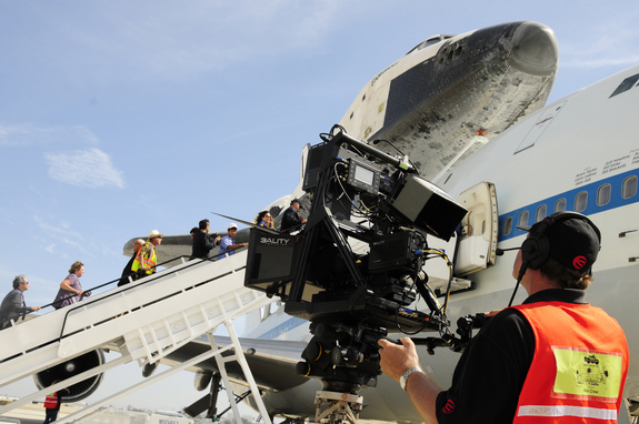 A cameraman captures people getting an up-close look at the space shuttle Endeavour shortly after it arrived in Los Angeles on Sept. 21, 2012.
