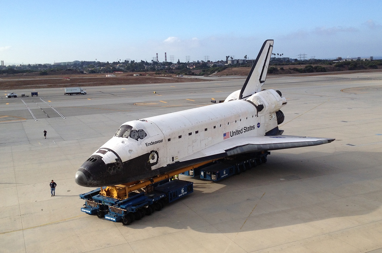 Shuttle Endeavour Atop Overland Transporters