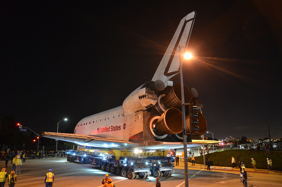 Endeavour is seen on top the overland transporter turning onto Westchester Parkway in Los Angeles on Oct. 12, 2012, during its final road trip on the way to the California Science Center for display.
