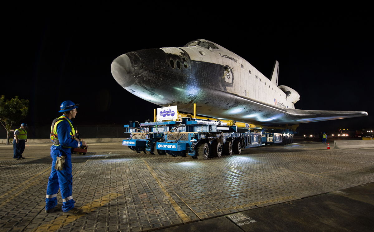 Driver and Shuttle Endeavour in Los Angeles