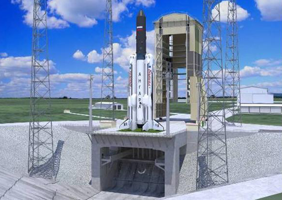 Artist's concept of Russia's proposed Reusable Integrated Launch Vehicle (RILV) on the pad.