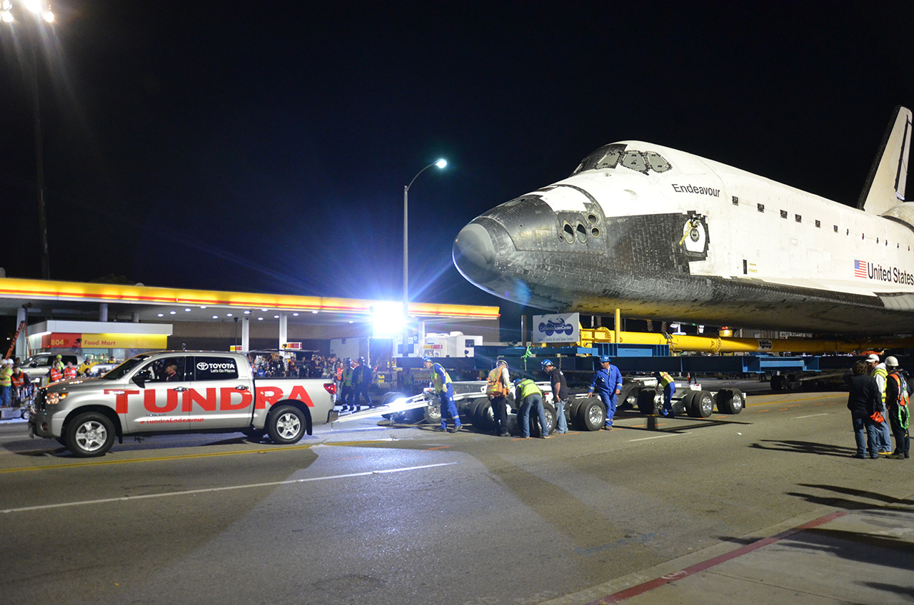 Toyota Truck Tows Shuttle Endeavour
