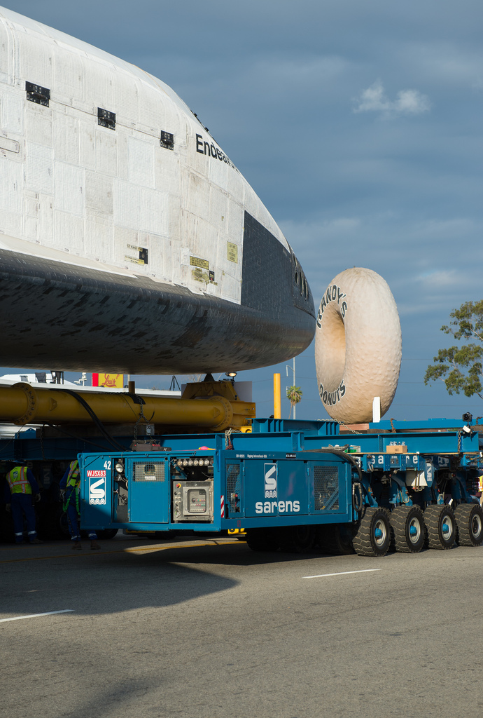 Shuttle Endeavour in L.A.: Mmm...Donuts