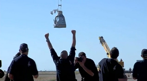 The capsule carrying daredevil Felix Baumgartner launched off the ground Sunday, Oct. 14 at 11:30 a.m. EDT, carried up by a giant balloon, in preparation for Baumgartner's attempt to make the highest skydive ever.