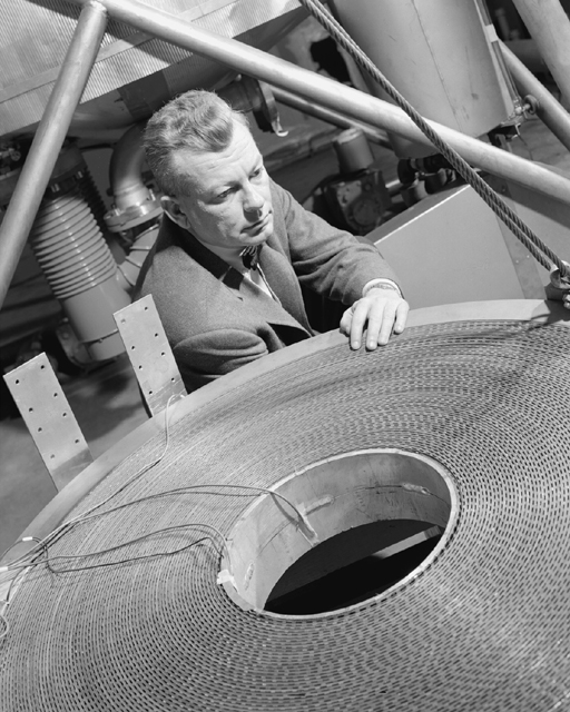 Space History Photo: Edmund Callaghan with Cryogenic Magnet