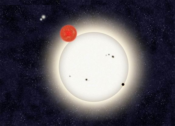 In this family portrait of the PH1 planetary system, the newly discovered planet is depicted in this artist's rendition transiting the larger of the two eclipsing stars it orbits. Off in the distance, well beyond the planet orbit, resides a second pair of stars bound to the planetary system. Released Oct. 15, 2012.