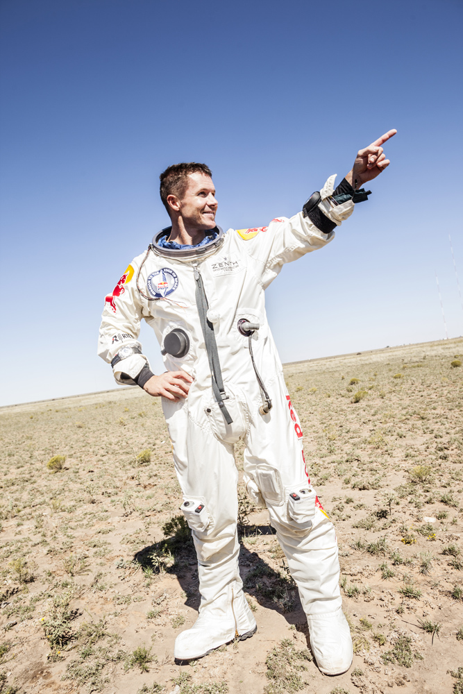 Baumgartner Points After Successful Jump