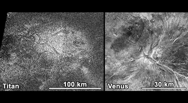 Saturn Moon Titan Has a 'Hot Cross Bun' in NASA Photo