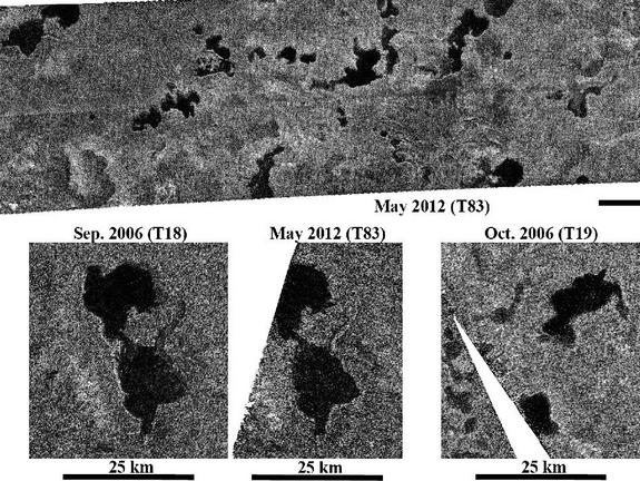 These images obtained by NASA's Cassini spacecraft show Titan's stable northern lake district. Cassini's radar instrument obtained the recent images on May 22, 2012. It observed some regions containing lakes that were last observed about six years (nearly one Titan season) ago. Although Titan spring began in 2009 and the sun has now risen over the lakes, there is no apparent change in lake levels since the 2006 flybys, consistent with climate models that predict stability of liquid lakes over several years.