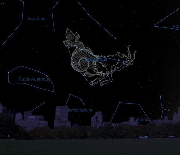 This sky map shows the location of the constellation Capricornus in the October evening sky as viewed from mid-northern latitudes.