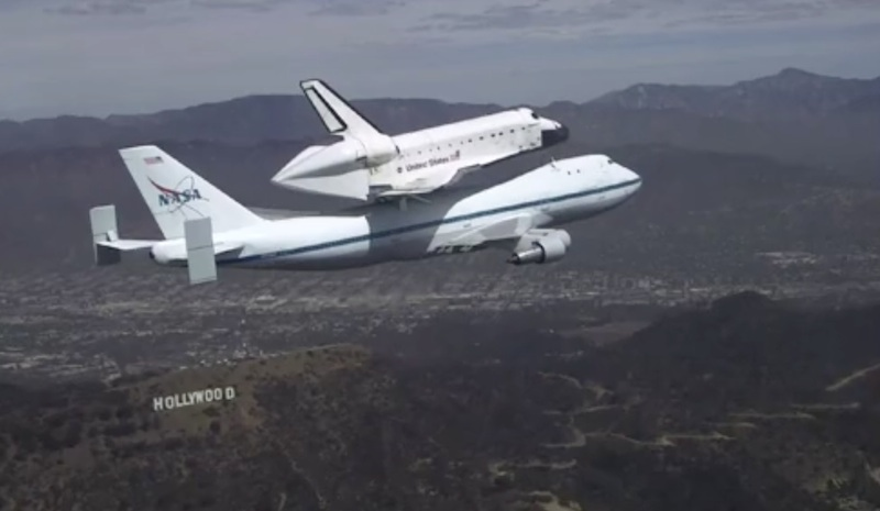 Space Shuttle Endeavour Soars Over California Landmarks