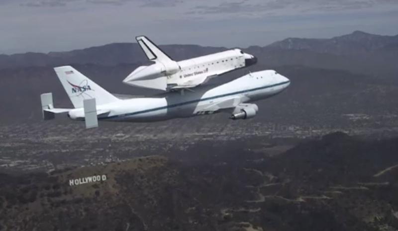 Space Shuttle Endeavour Soars Over California Landmarks