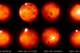Observations of several bright & young eruptions on Jupiter's moon Io detected at short wavelength (~ 2.1 mm) on the top and longer wavelength (~ 3.2 mm) on the bottom since 2004 using the W.M. Keck 10m telescope (May 2004, Aug 2007, Sep 2007, July 2009), the Gemini North 8m Telescope (Aug 2007) and the ESO VLT-Yepun 8m telescope (Feb 2007) and their adaptive optics systems.