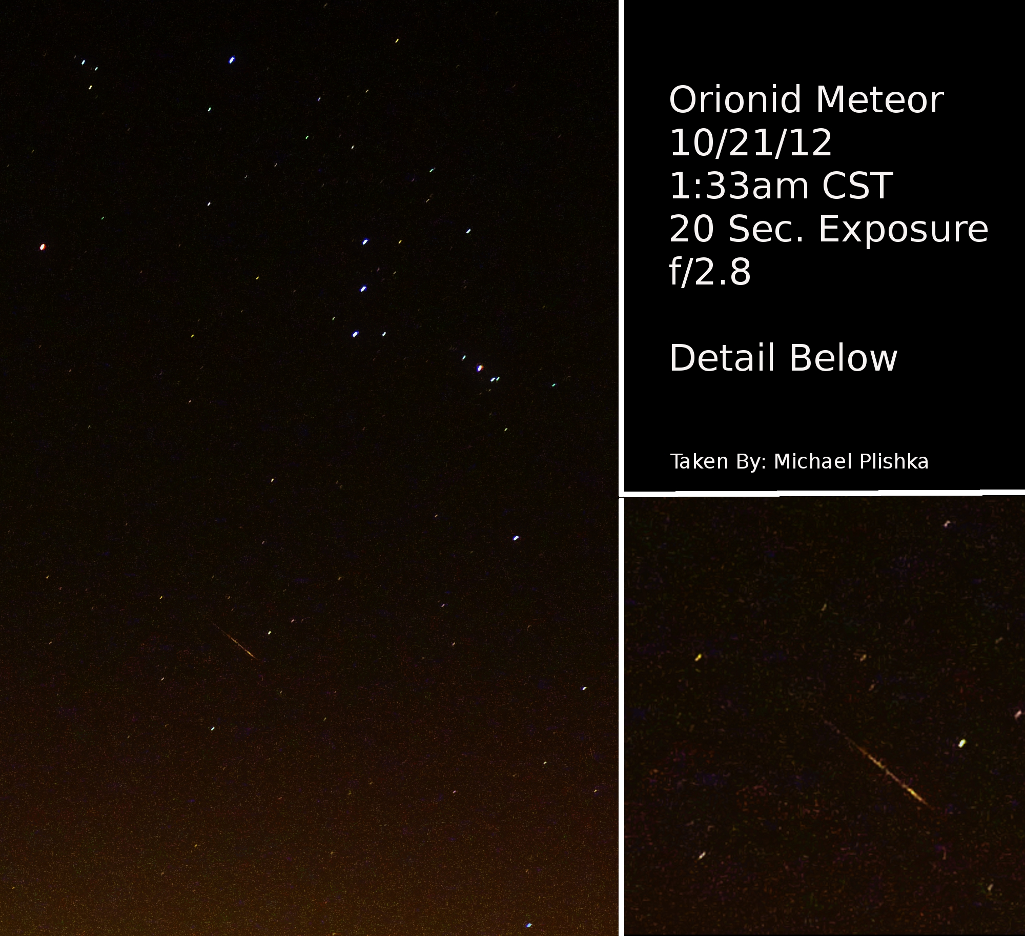 Orionid Meteor Shower 2012: Michael Plishka
