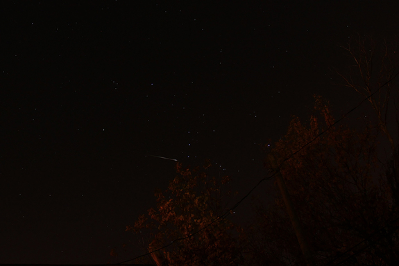 "Observer Dale Mayotte snapped this photo of a meteor during the peak of the 2012 Orionid meteor shower on Oct. 21, 2012, from Clinton township in Michigan.It was Mayotte's 38th birthday, an ""excellent present,"" he said."