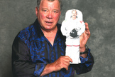 'Star Trek' star William Shatner poses with a 2-D image of Canadian astronaut Chris Hadfield as part of a photo contest run by the Canadian Space Agency to promote the spaceflyer's upcoming mission.