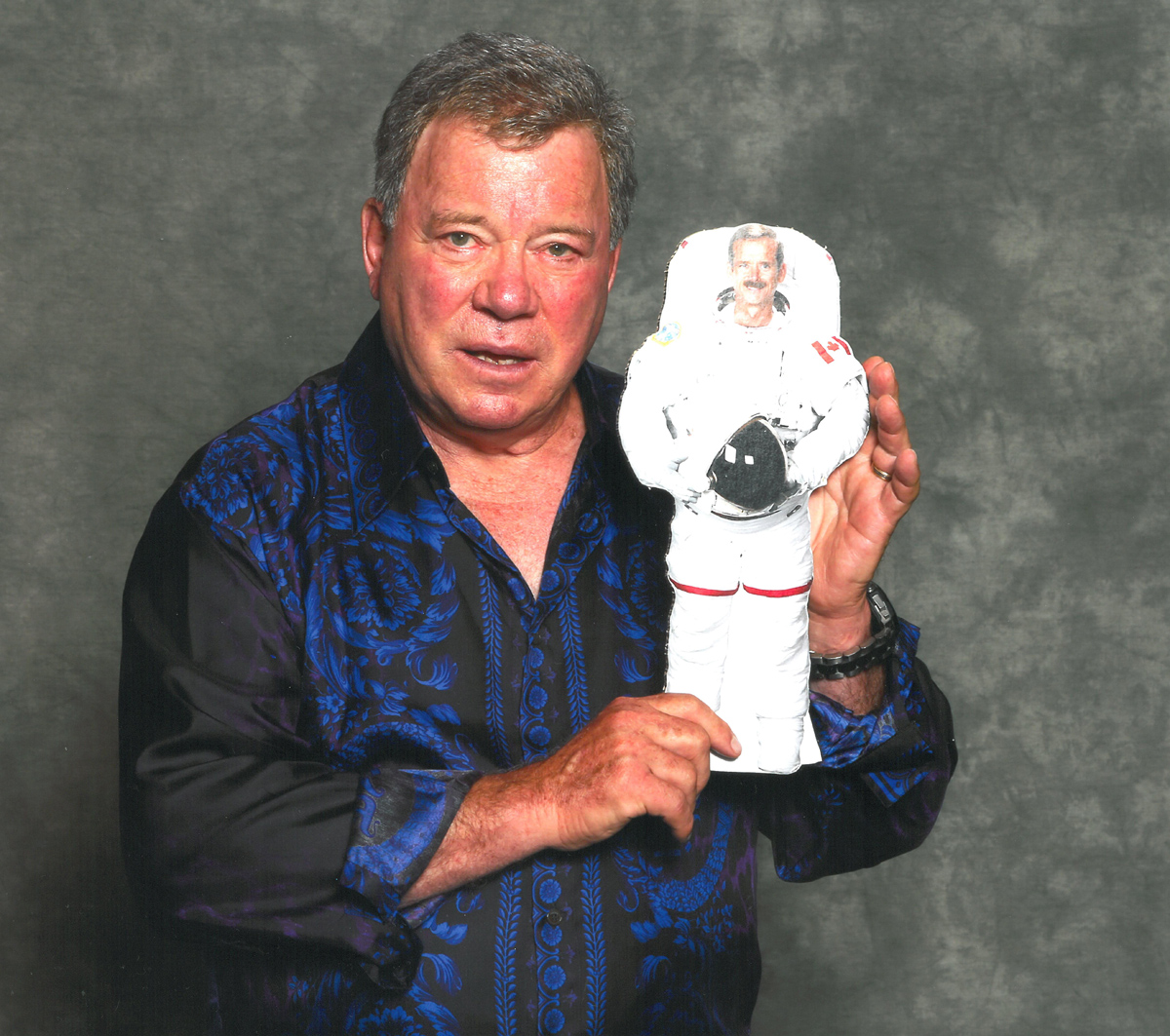 William Shatner with Image of Canadian Astronaut Chris Hadfield