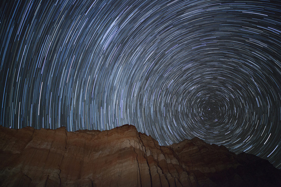 Astrophotographer Jason Hullinger took this long exposure of star trails and Orionid meteors Red Canyon State Park, CA near Mojave/California City on Oct. 21. 2012.