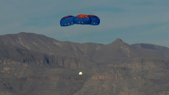 The New Shepard Crew Capsule escaped to an altitude of 2,307 feet before deploying parachutes for a safe return. Image released Oct. 22, 2012.
